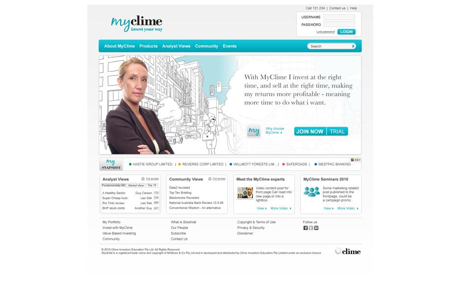 MyClime website design