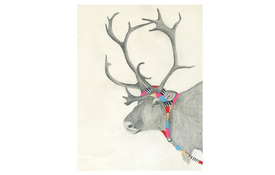 Hooded Reindeer by Lisa Congdon